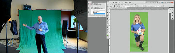 Shooting Chromakey photograph on a greenscreen and keying greenscreen photos in Photoshop