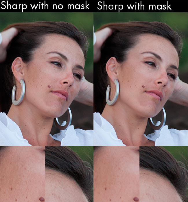Sharpening video can result in skin being looking rough