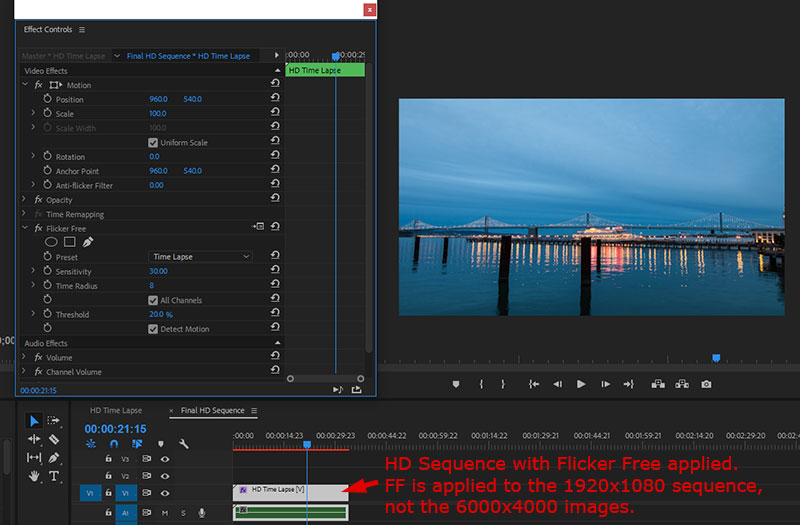 Apply Flicker Free to the HD sequence, not the 6000x4000 images